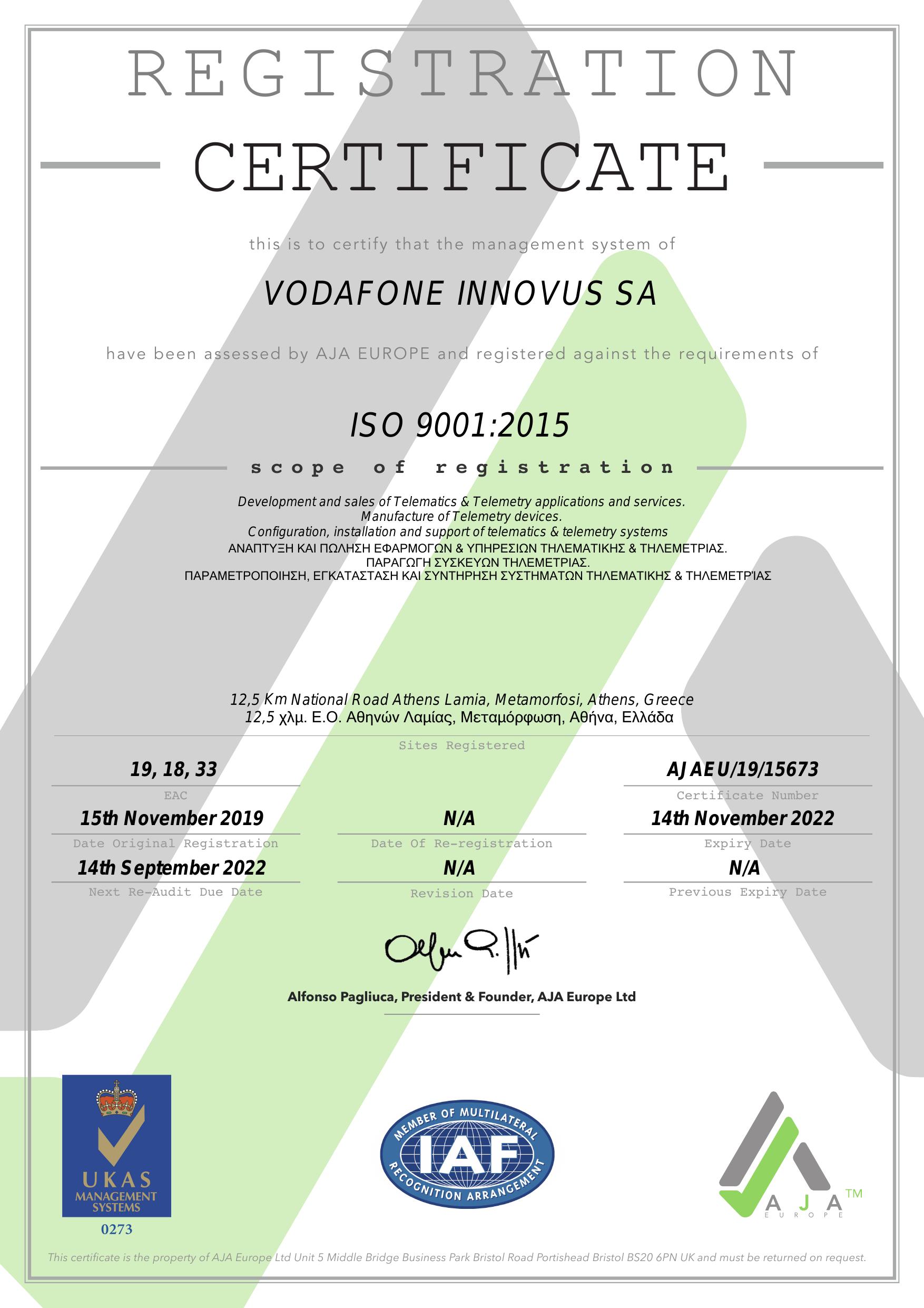 Vodafone Innovus ISO9001_Nov 2019